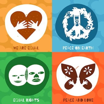 Koncepcja projektu symboli międzynarodowej przyjaźni z równymi prawami, pokojem i miłością na ziemi na białym tle