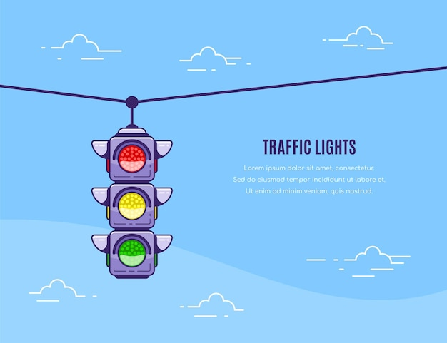 Koncepcja projektu transparentu z ikoną sygnalizacji świetlnej i ilustracją szablonu tekstu