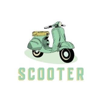 Koncepcja projektu w stylu vintage skuter