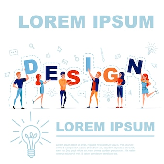 Koncepcja projektu z mężczyzną i kobietą trzymającą litery projekt z ikoną na ilustracji wektorowych w tle