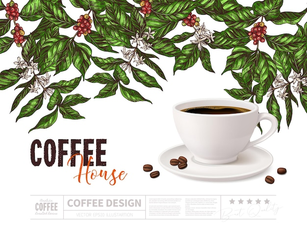 Koncepcja promocji kawy z kubkiem napoju na białym tle
