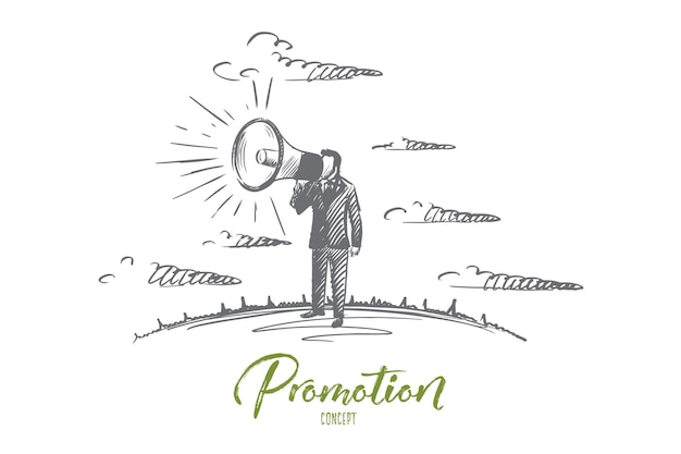 Koncepcja promocji. ręcznie rysowane mężczyzna krzyczy przez megafon. mężczyzna promuje coś z rogiem ilustracja na białym tle.