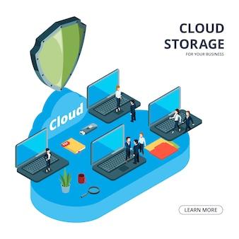 Koncepcja przechowywania w chmurze. ilustracja biznes izometryczny. zespół biznesowy użył pamięci w chmurze