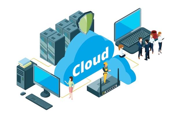 Koncepcja przechowywania w chmurze. ilustracja wektorowa transferu danych izometrycznych. biznesmeni i gospodynie domowe korzystali z pamięci masowej w chmurze. hosting danych w chmurze, izometryczne przechowywanie baz danych