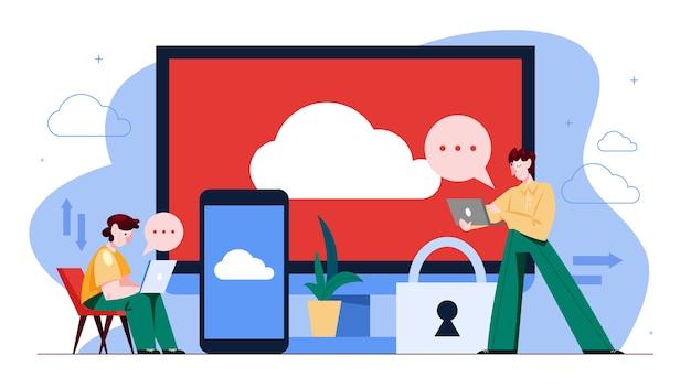 Koncepcja przechowywania w chmurze. pojęcie technologii komputerowej i bazy danych w internecie. pobieranie informacji z dowolnego urządzenia. ilustracja