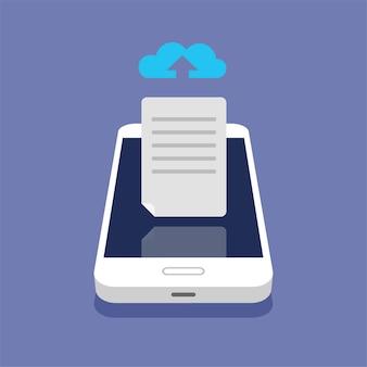Koncepcja przechowywania w chmurze. przesyłanie plików do pamięci w chmurze na izometrycznym smartfonie. proces pobierania.