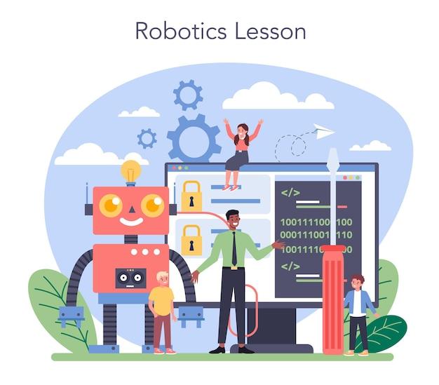 Koncepcja przedmiotu w szkole robotyki. inżynieria i programowanie robotów. idea sztucznej inteligencji i futurystycznej technologii. ilustracja na białym tle wektor