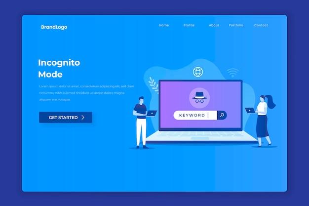 Koncepcja przeglądania incognito ilustracji dla stron docelowych witryn internetowych, plakatów i banerów aplikacji mobilnych