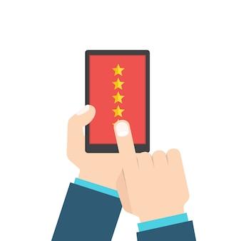 Koncepcja przeglądu opinii lub opinii klientów. system oceny na smartfonie. , płaski styl.