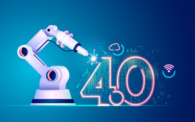 Koncepcja przemysłu 4.0 lub futurystycznego przemysłu, grafika ramienia robota z elementem technologii