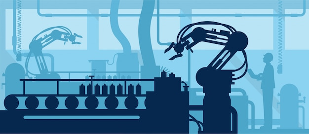 Koncepcja przemysłu 4.0, sylwetka zautomatyzowanej linii produkcyjnej z pracownikiem.
