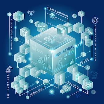 Koncepcja przemysłu 4.0 z inteligentną produkcją i automatyzacją.