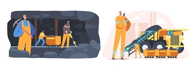 Koncepcja przemysłu wydobywczego węgla. postacie górników pracujących w kamieniołomie z narzędziami, transportem i techniką. technika wydobycia przemysłowego, sprzęt i transport. ilustracja wektorowa kreskówka ludzie