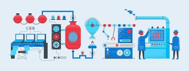Koncepcja przenośnika fabrycznego. proces technologii produkcji przemysłowej, skomputeryzowana inteligentna fabryka. ilustracja wektorowa produkcji