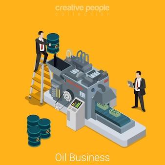 Koncepcja przenośnika płaski izometryczny przemysłu ropy naftowej biznesmen nalewanie maszyny z paskiem oleju z pieniędzmi.