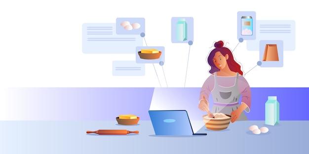Koncepcja przepisu online z młodą postacią kobiecą, laptopem, masłem, mlekiem, jajkami, mąką.