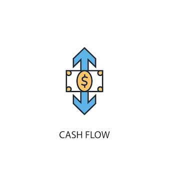 Koncepcja przepływu środków pieniężnych 2 kolorowa ikona linii. prosta ilustracja elementu żółty i niebieski. koncepcja przepływu środków pieniężnych zarys symbolu projekt