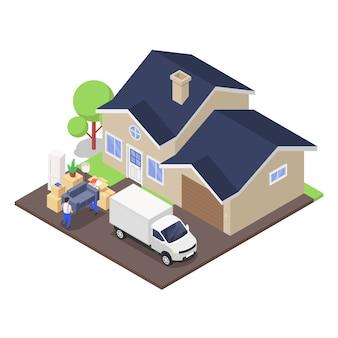 Koncepcja przeprowadzki do domu. przeprowadza rozładunek ciężarówki zapakowanej w pudełka kartonowe z różnymi artykułami gospodarstwa domowego.