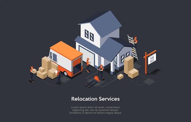 Koncepcja przeprowadzki i nieruchomości. przemieszczający się pracownicy usług w kombinezonach ładują meble do przemieszczającej się ciężarówki serwisowej. przeniesienie procesu do nowego domu.
