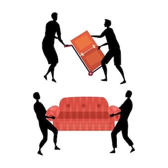Koncepcja przeprowadzki. przenoszenie sylwetki pracowników usług w kombinezony robocze rozładunek mebli. przeniesienie procesu do nowego domu lub biura. pudełka i kanapa.