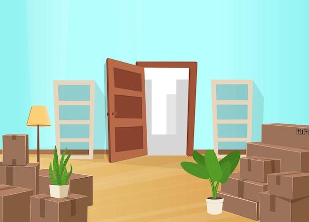 Koncepcja przeprowadzki w domu pokój z wieloma pudełkami, otwartymi drzwiami i pustymi półkami
