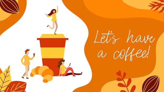 Koncepcja przerwa na kawę z malutkimi ludźmi, filiżanką i pączkiem w stylu płaski. podawać ilustrację strony internetowej klienta dla karty kawiarni, menu, drukowania. plakat wektor kreatywnych obiad.