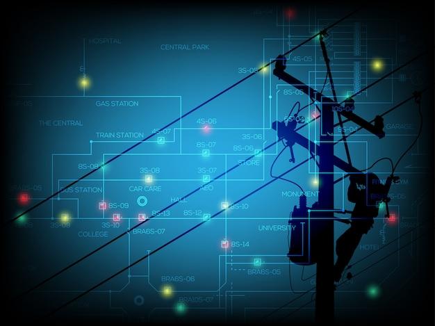 Koncepcja przerwy w dostawie prądu, jednoliniowy schemat systemu dystrybucji z zielonym i czerwonym światłem punktowym