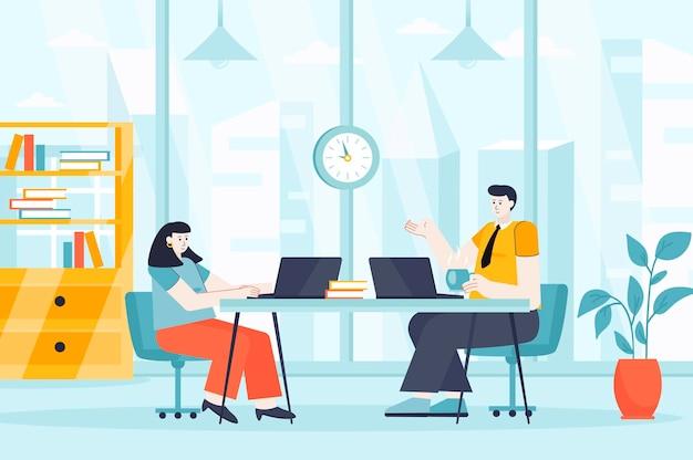 Koncepcja przestrzeni coworkingowej w płaskiej konstrukcji ilustracja postaci osób na stronę docelową