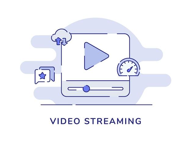 Koncepcja przesyłania strumieniowego wideo odtwórz symbol wideo na ekranie