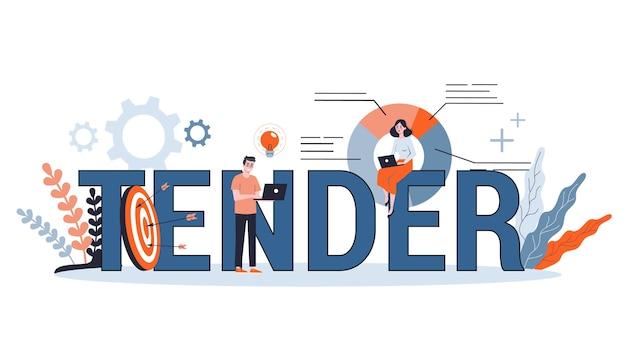 Koncepcja przetargowa. przedsiębiorcy ogłosili przetarg na firmę. baner internetowy, prezentacja, pomysł na konto w mediach społecznościowych. ilustracja