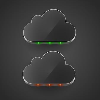 Koncepcja przetwarzania w chmurze doprowadziła chmurę ilustracji wektorowych