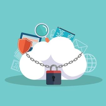 Koncepcja przetwarzania w chmurze i ochrony danych. ilustracja wektorowa. płaska konstrukcja