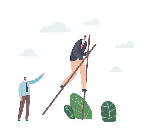 Koncepcja przewag konkurencyjnych. biznesmen charakter w wizytowym chodzenie na szczudłach. skoncentrowany przedsiębiorca ucieka przed kryzysem lub trudną sytuacją w biznesie. ilustracja wektorowa kreskówka ludzie