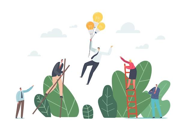 Koncepcja przewag konkurencyjnych. postacie biznesowe chodzące na palach, wspinające się po drabinie i latające na balonach z żarówkami. korporacyjny konkurs na przywództwo. ilustracja wektorowa kreskówka ludzie