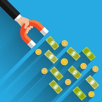 Koncepcja przyciągania inwestycji, pieniędzy. biznes sukces dolara magnes płaska konstrukcja ilustracja