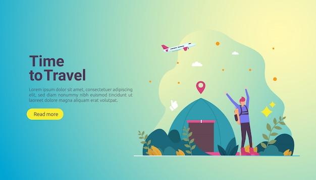 Koncepcja przygody backpacker podróży. wakacje na świeżym powietrzu temat turystyki pieszej, wspinaczki i trekkingu