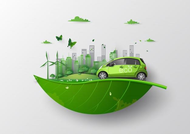 Koncepcja przyjazna środowisku z ekologicznym samochodem.