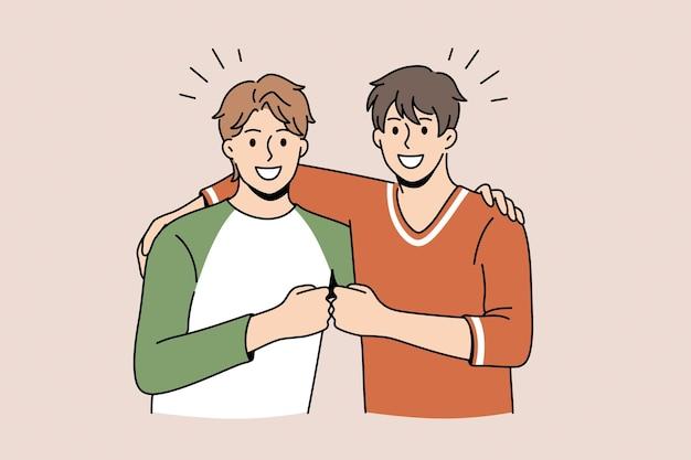 Koncepcja przyjaźni i pozytywnych emocji. dwóch młodych uśmiechniętych szczęśliwych przyjaciół mężczyzn stojących, ciągnących razem pięści jako symbol jedności i przyjaźni ilustracji wektorowych