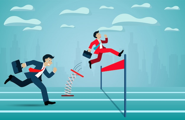 Koncepcja przywództwa. bieg konkurencji biznesmen iść do mety do celu sukcesu