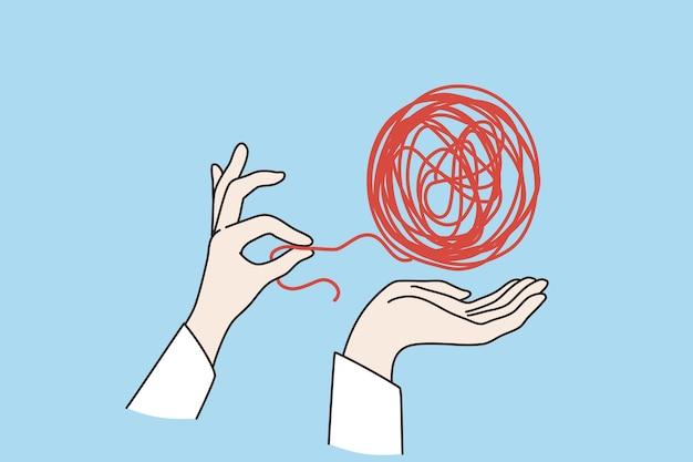 Koncepcja psychoterapii i zdrowia psychicznego. ludzka ręka rozplątuje czerwony brudny węzeł warczenie na niebieskim tle ilustracji wektorowych