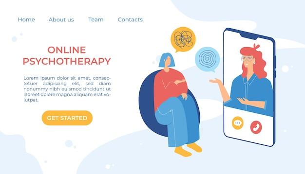 Koncepcja psychoterapii online. internetowy serwis poradnictwa psychologicznego. konsultacje zdalne. psychiczny