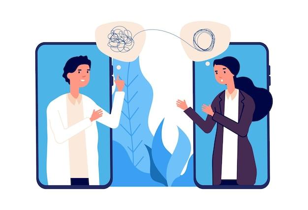 Koncepcja psychoterapii online. lekarz psycholog pomaga pacjentowi rozwikłać splątane myśli. problemy psychologiczne, zaburzenia psychiczne. ilustracja wektorowa pomocy online. konsultacja psychiatry online