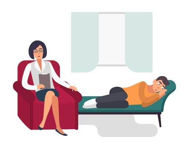 Koncepcja psychoterapii. pacjent, mężczyzna z psychologiem. kolorowa ilustracja płaski.