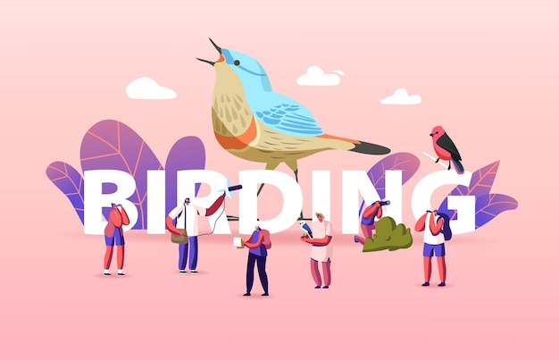 Koncepcja ptactwa. grupa przyjaciół postacie biwakujące i piesze wycieczki przy użyciu lornetki obserwującej ptaki