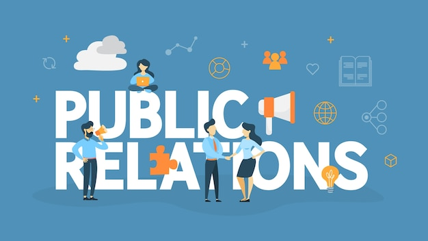 Koncepcja public relations. pomysł na ogłaszanie swojej firmy w środkach masowego przekazu. zarządzanie i strategia marketingowa. ilustracja
