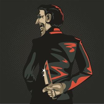 Koncepcja pułapki biznesu, grafika biznesmen trzyma nóż za plecami