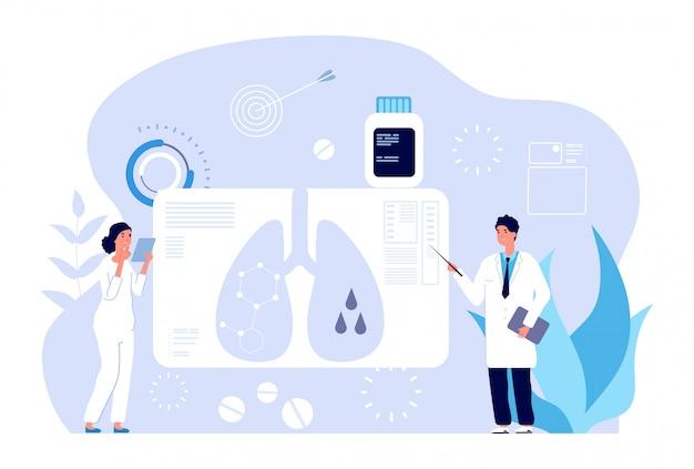 Koncepcja pulmonologii. diagnostyka chorób układu oddechowego, problem płuc. pulmonologiczna kontrola opieki zdrowotnej, skan oskrzeli.