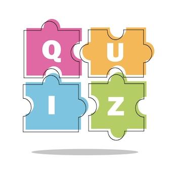 Koncepcja quizu cienka linia. ilustracja wektorowa - puzzle kolorowe kawałki