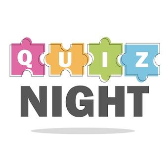 Koncepcja quizu noc cienka linia. ilustracja wektorowa - puzzle kolorowe kawałki
