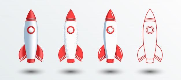 Koncepcja rakietowego statku kosmicznego w zarysie lub liniowej, minimalnej płaskiej teksturze szumu retro i gładkich stylach 3d.